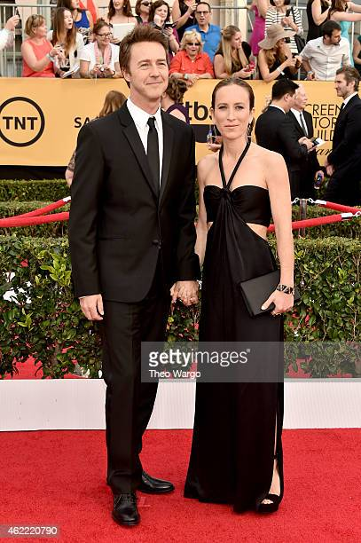 Actor Edward Norton and Shauna Robertson attend TNT's 21st Annual Screen Actors Guild Awards at The Shrine Auditorium on January 25 2015 in Los...