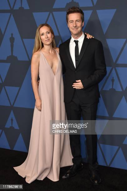 US actor Edward Norton and wife Canadian producer Shauna Robertson arrive to attend the 11th Annual Governors Awards gala hosted by the Academy of...