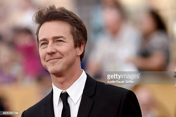 Actor Edward Norton arrives at the 21st Annual Screen Actors Guild Awards at The Shrine Auditorium on January 25 2015 in Los Angeles California