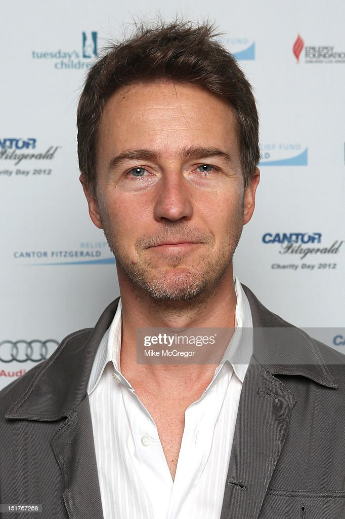 Actor Edward Norton attends Cantor Fitzgerald & BGC Partners host annual charity day on 9/11 to benefit over 100 charities worldwide at Cantor Fitzgerald on September 11, 2012 in New York City.