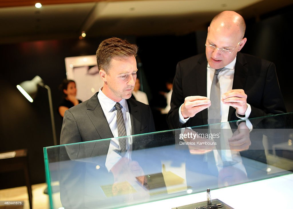 Actor Edward Norton (L) attends Montblanc Celebrates 90 Years of the Iconic Meisterstuck on April 3, 2014 at Guastavino's in New York City.