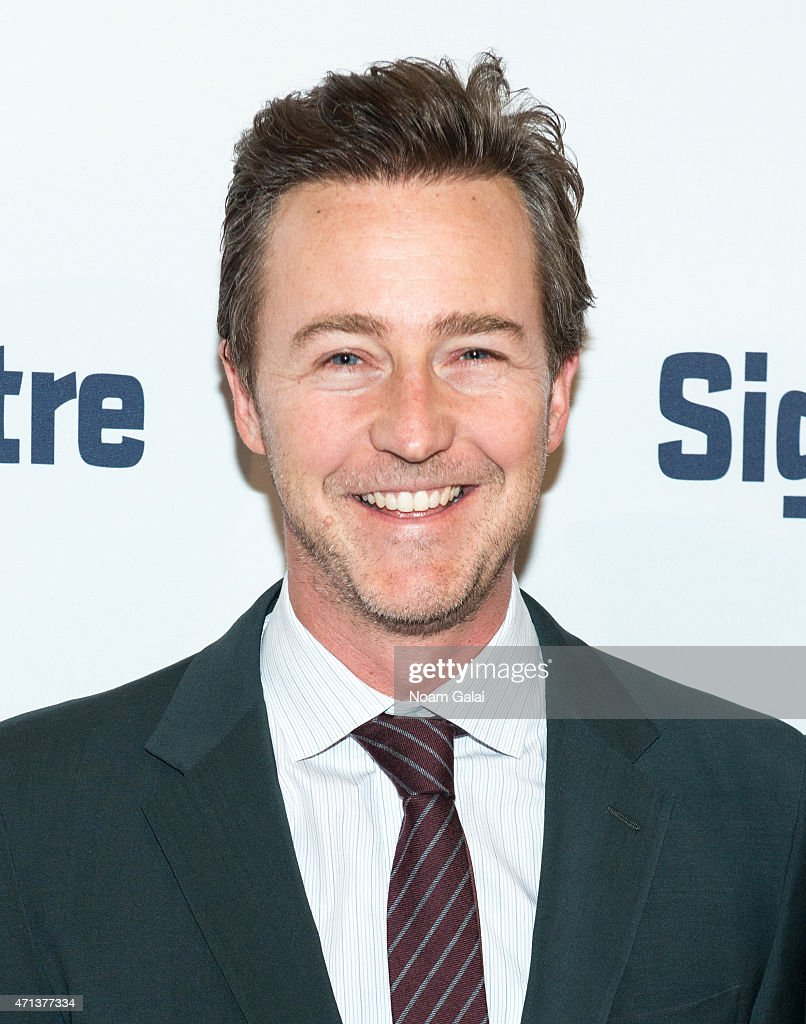 Actor Edward Norton attends the 2015 Signature Theatre Gala at The Signature Center on April 27, 2015 in New York City.