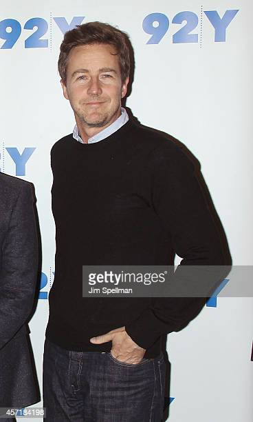 Actor Edward Norton attends the 92nd Street Y Film Series 'Birdman Or The Unexpected Virtue Of Ignorance'at 92nd Street Y on October 13 2014 in New...