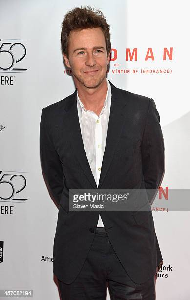 Actor Edward Norton attends the Closing Night Gala Presentation of Birdman Or The Unexpected Virtue Of Ignorance during the 52nd New York Film...