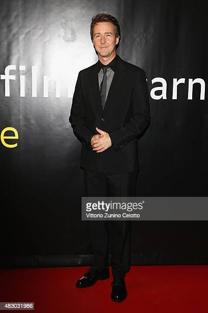 Actor Edward Norton attends the Moet Chandon Excellence Awardo red carpet on August 5 2015 in Locarno Switzerland