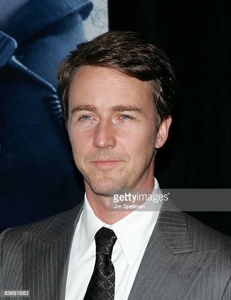 Actor Edward Norton attends the Premiere for Pride and Glory at AMC Loews lincoln Square 13 on October 15 2008 in New York City
