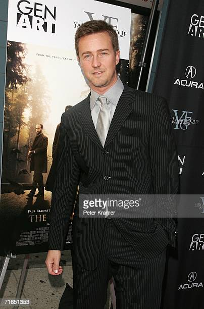 Actor Edward Norton attends Yari Film Group's premiere of The Illusionist at Chelsea West Cinemas August 15 2006 in New York City