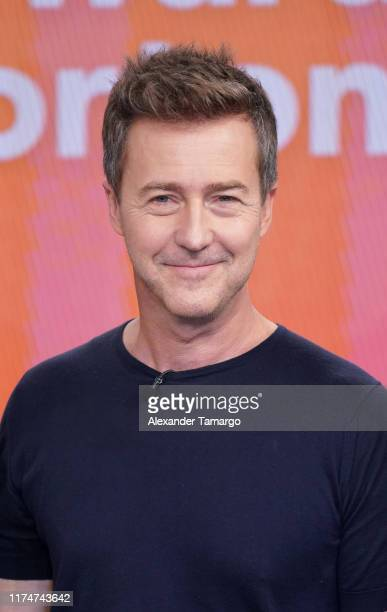 Actor Edward Norton is seen on the set of Despierta America at Univision Studios to promote the film Motherless Brooklyn on October 9 2019 in Miami...