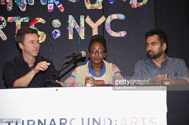 Actor Edward Norton Kailah Francis and actor Kal Penn attend a press conference launching Turnarond Arts in New York City Schools at the Brooklyn...