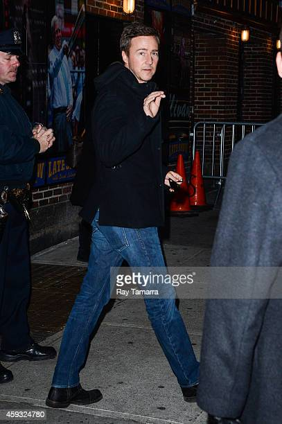 Actor Edward Norton leaves the 'Late Show With David Letterman' taping at the Ed Sullivan Theater on November 20 2014 in New York City