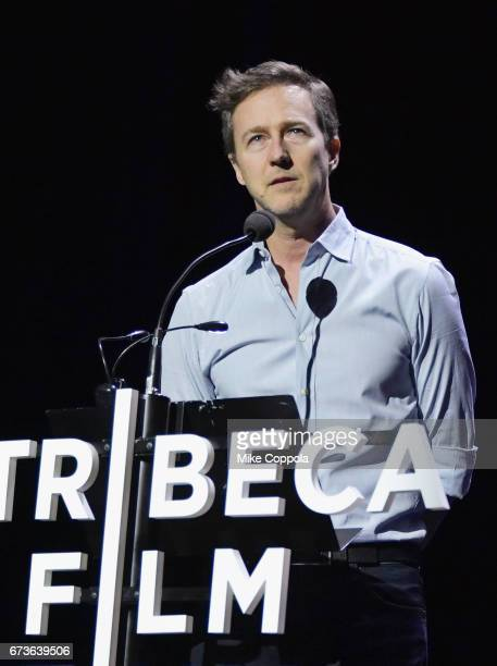 Actor Edward Norton speaks after the screening of 'From the Ashes' Premiere 2017 Tribeca Film Festival on April 26 2017 in New York City