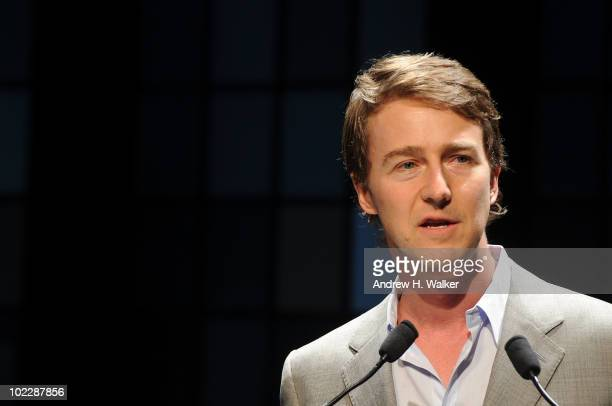 Actor Edward Norton speaks at the 11th Annual Friends of the High Line Party and Summer Dinner at the High Line on June 21 2010 in New York City