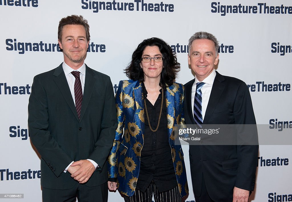 Actor Edward Norton, Tina Landau and James Houghton attend the 2015 Signature Theatre Gala at The Signature Center on April 27, 2015 in New York City.