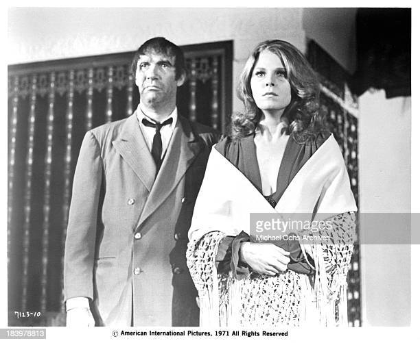 Actor Edward Walsh and actress Mariette Hartley on set of the movie The Return of Count Yorga