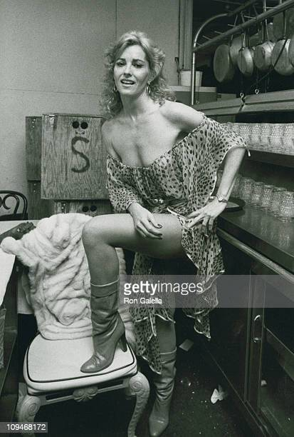 Actor Edy Williams attending the wrap party for Chained Heat on February 6 1983 at La Cage Aux Folles in Hollywood California