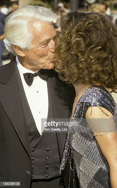 Actor Efrem Zimbalist Jr and actress Stephanie Zimbalist attend 38th Annual Primetime Emmy Awards on September 21 1986 at the Pasadena Civic...