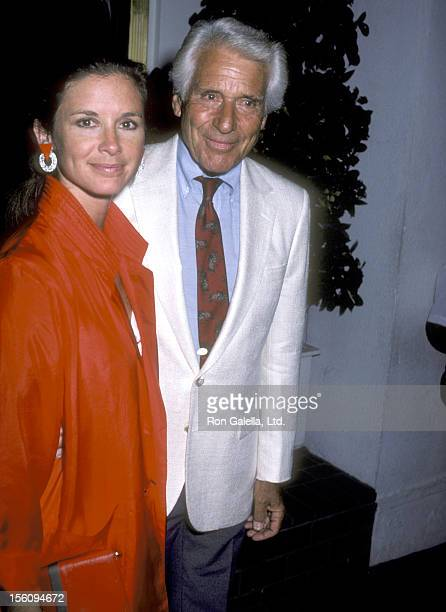 Actor Efrem Zimbalist Jr and daughter Actress Stephanie Zimbalist on August 17 1986 dining at Chasen's Restaurant in Beverly Hills California