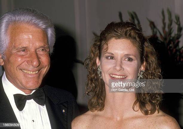 Actor Efrem Zimbalist Jr and daughter Actress Stephanie Zimbalist attend the 1989 International Angel Awards on February 24 1989 at Century Plaza...