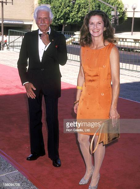 Actor Efrem Zimbalist Jr and daughter Actress Stephanie Zimbalist attend the 1997 Primetime Creative Arts Emmy Awards on September 7 1997 at Pasadena...