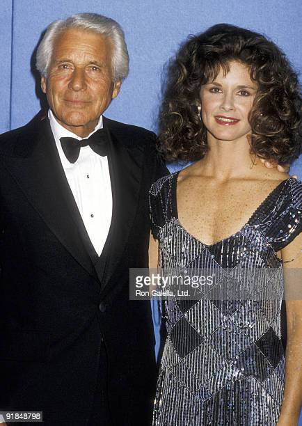 Actor Efrem Zimbalist Jr and daughter Actress Stephanie Zimbalist attend the 38th Annual Primetime Emmy Awards on September 21 1986 at Pasadena Civic...
