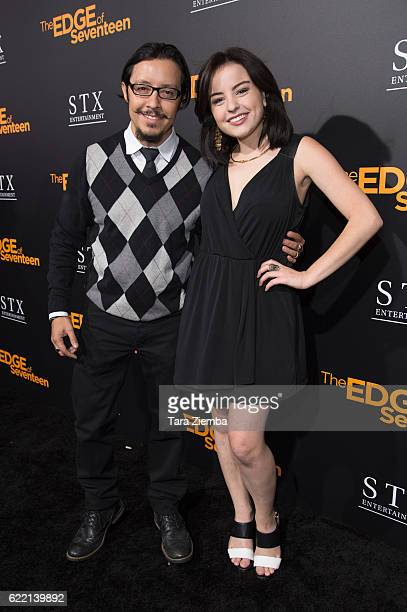 Actor Efren Ramirez and actress Katie Sarife attend a screening of 'The Edge of Seventeen' at Regal LA Live Stadium 14 on November 9 2016 in Los...
