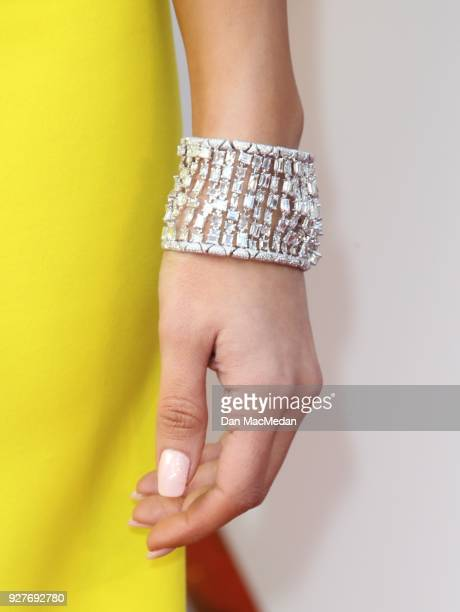 Actor Eiza Gonzalez bracelet detail attends the 90th Annual Academy Awards at Hollywood Highland Center on March 4 2018 in Hollywood California
