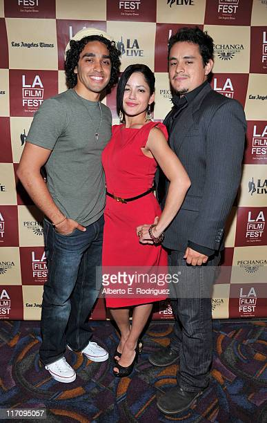 Actor EJ Bonilla actress Veronica DiazCarranza and actor Jesse Garcia attend the Mamitas Q A during the 2011 Los Angeles Film Festival held at Regal...