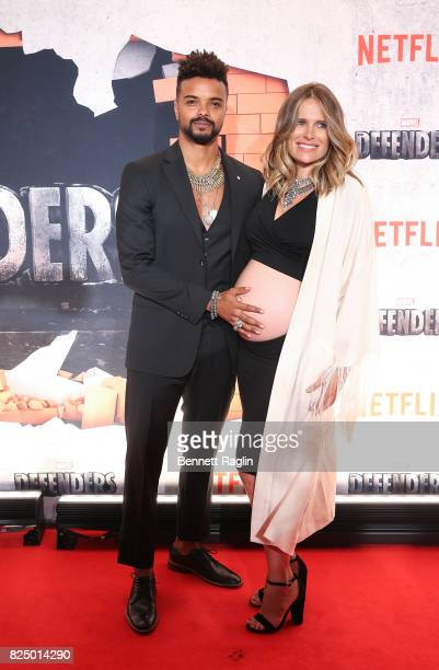 Actor Eka Darville and Leela Darville attends the 'Marvel's The Defenders' New York premiere at Tribeca Performing Arts Center on July 31 2017 in New...