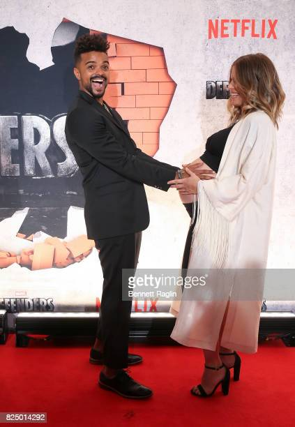 Actor Eka Darville and Leela Darville attends the Marvel's The Defenders New York premiere at Tribeca Performing Arts Center on July 31 2017 in New...