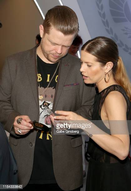 Actor Elden Henson and Jana Ferrari attend The Hunger Games: The Exhibition grand opening at MGM Grand Hotel & Casino on June 06, 2019 in Las Vegas,...