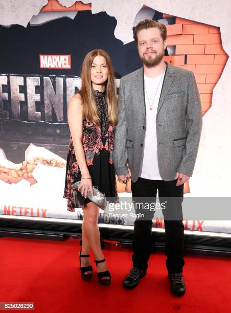Actor Elden Henson and wife Kira Sternbach attend the Marvel's The Defenders New York premiere at Tribeca Performing Arts Center on July 31 2017 in...