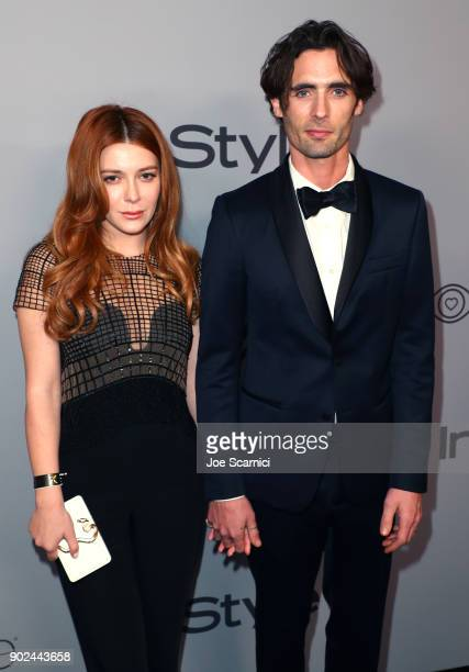 Actor Elena Satine and recording artist Tyson Ritter attend the 2018 InStyle and Warner Bros 75th Annual Golden Globe Awards PostParty at The Beverly...