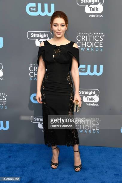 Actor Elena Satine attends The 23rd Annual Critics' Choice Awards at Barker Hangar on January 11 2018 in Santa Monica California