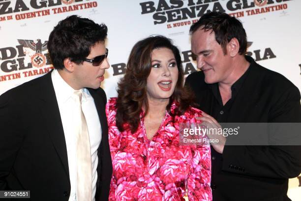 Actor Eli Roth actress Edwige Fenech and director Quentin Tarantino attend Inglourious Basterds Premiere at premiere at the Warner Cinema on...