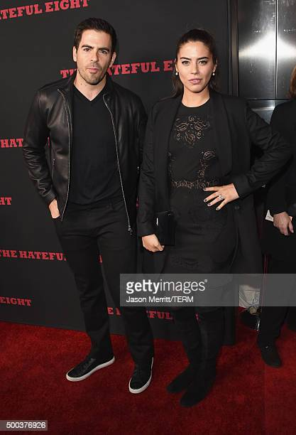 Actor Eli Roth and Lorenza Izzo attend the Premiere of The Weinstein Company's The Hateful Eight at ArcLight Cinemas Cinerama Dome on December 7 2015...