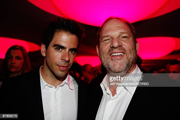 Actor Eli Roth and producer Harvey Weinstein during the amfAR Cinema Against AIDS 2009 benefit after party at the Hotel du Cap during the 62nd Annual...