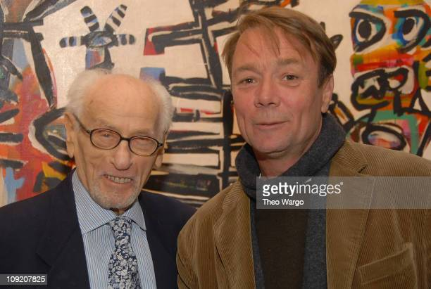 Actor, Eli Wallach and David Larwill at The Western Desert Artists - Australia New York 2008 Exhibition at Stephen Weiss Studios in New York City on...