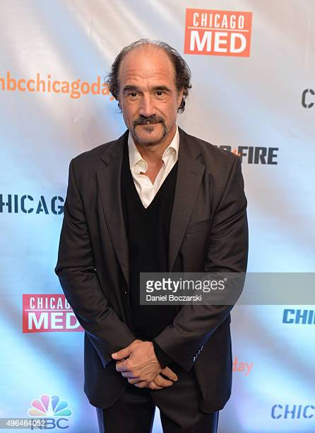 Actor Elias Koteas attends a premiere party for NBC's 'Chicago Fire' 'Chicago PD' and 'Chicago Med' at STK Chicago on November 9 2015 in Chicago...