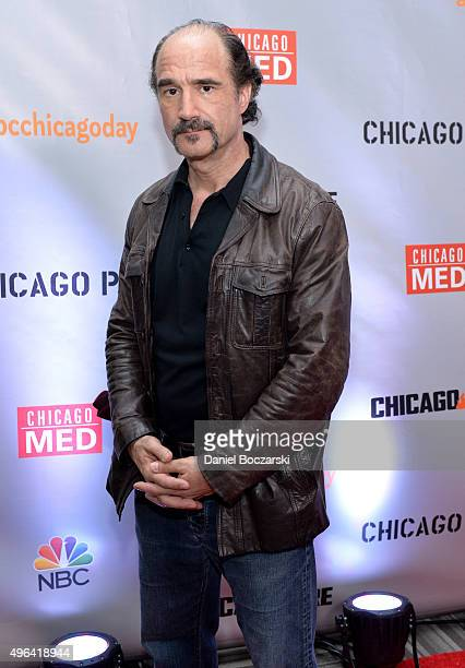 Actor Elias Koteas attends a press junket for NBC's 'Chicago Fire' 'Chicago PD' and 'Chicago Med' at Cinespace Chicago Film Studios on November 9...