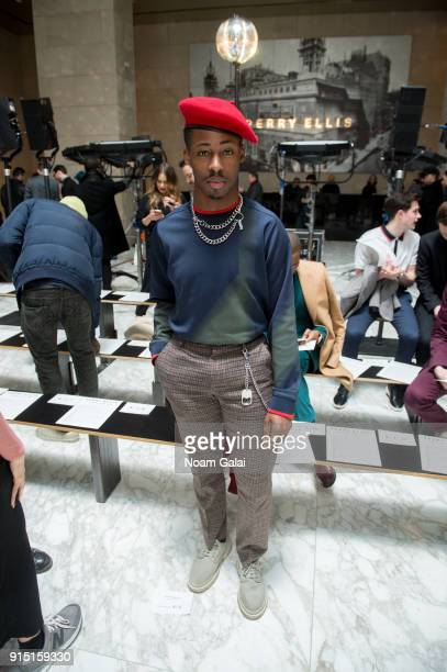 Actor Elijah Boothe attends the Perry Ellis fashion show during New York Fashion Week Mens' at The Hippodrome Building on February 6 2018 in New York...