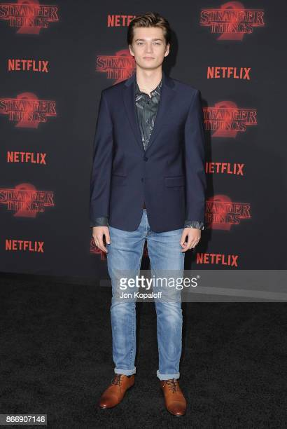 Actor Elijah Stevenson arrives at the premiere of Netflix's 'Stranger Things' Season 2 at Regency Bruin Theatre on October 26 2017 in Los Angeles...