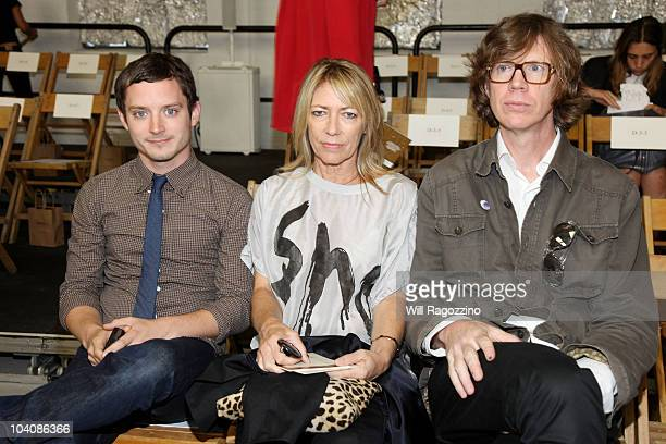Actor Elijah Wood and Sonic Youth members Kim Gordon and Thurston Moore attend the Rodarte Spring 2011 fashion show during MercedesBenz Fashion Week...