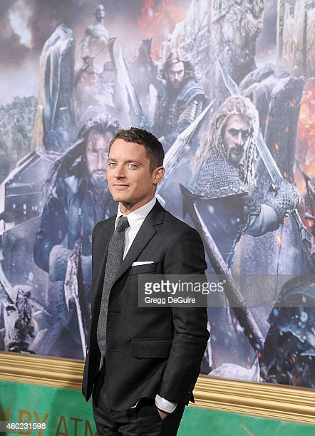 Actor Elijah Wood arrives at the Los Angeles premiere of 'The Hobbit The Battle Of The Five Armies' at Dolby Theatre on December 9 2014 in Hollywood...