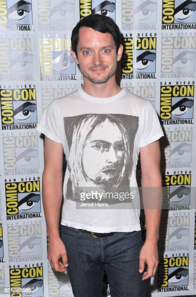 Actor Elijah Wood at BBC AMERICA'S San Diego ComicCon Press Line with the Stars and Producers of 'Dirk Gently's Holistic Detective Agency' and...