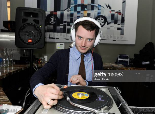 Actor Elijah Wood DJ's at the Celeste and Jesse Forever dinner held at Acura Studio on January 20 2012 in Park City Utah