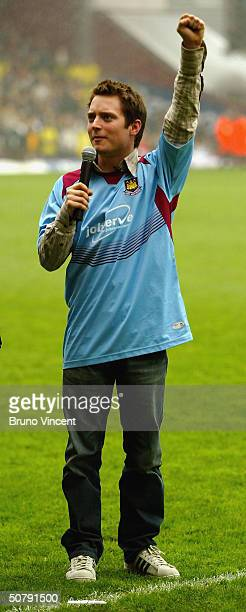 Actor Elijah Wood is seen during the half time of the West Ham v Watford Match at The Boleyn Ground Upton Park on May 1 2004 in London The scene...