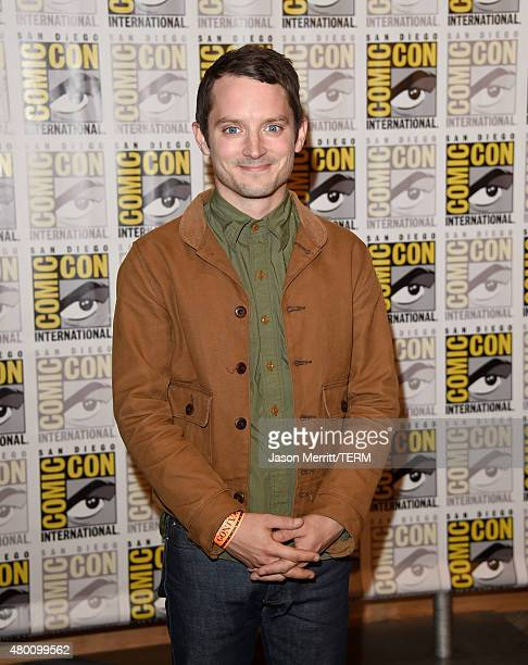 Actor Elijah Wood of 'The Last Witch Hunter' attends the Lionsgate press room during ComicCon International 2015 at the Hilton Bayfront on July 9...