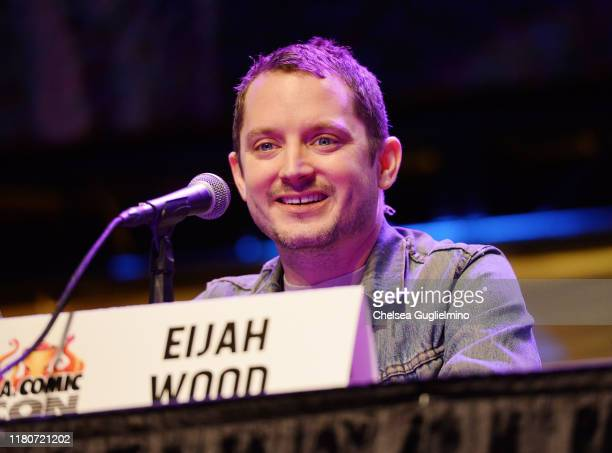 Actor Elijah Wood speaks onstage during the Through a Genre Lens Horror Cinema in the New Era The Films of SpectreVision panel during 2019 Los...