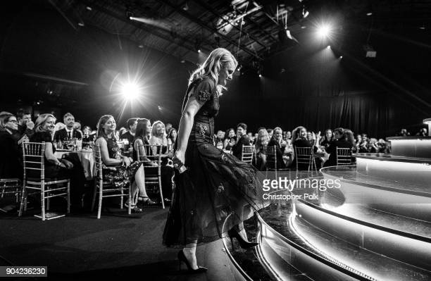 Actor Elisabeth Moss accepts Best Actress in a Drama Series for 'The Handmaid's Tale' onstage during The 23rd Annual Critics' Choice Awards at Barker...