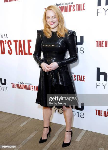 Actor Elisabeth Moss arrives at Hulu's 'The Handmaid's Tale' FYC at Samuel Goldwyn Theater on June 7 2018 in Beverly Hills California